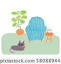 파란색 소파와 고양이 58088944