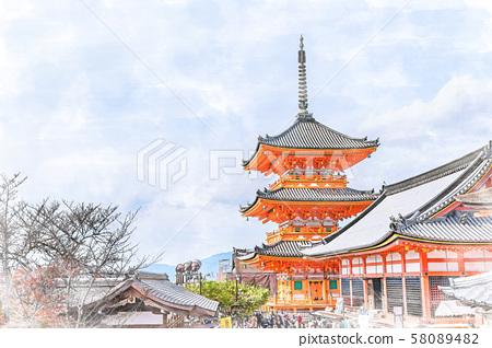 Japanese landscape Kyoto Kiyomizu-dera Temple Triple tower 58089482