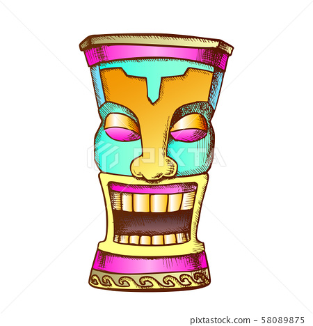 Tiki Idol Carved Wood Funny Totem Color Vector 58089875