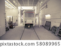 repair of tram in depot. garage equipped for service and repair of public transport 58089965