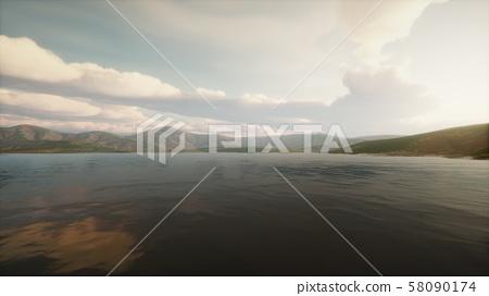 Beautiful calm lake with sunset 58090174