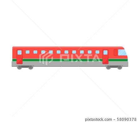 Red Suburban Electric Train Flat Vector Illustration 58090378