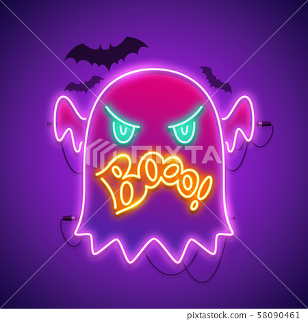 Halloween Neon Sign with Angry Ghost Boo 58090461