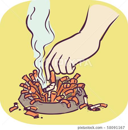 Hand Symptom Chain Smoking Illustration 58091167