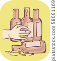 Hand Symptom Alcoholic Illustration 58091169