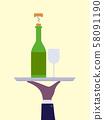 Hand Wine Bottle Glass Waiter Illustration 58091190