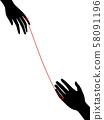 Hands Red String Fate Illustration 58091196