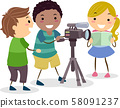 Stickman Kids Recording Video Camera Illustration 58091237