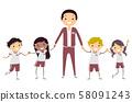 Stickman Kids Teacher Uniform Illustration 58091243
