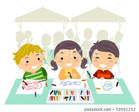 Stickman Kids Farmers Market Drawing Illustration 58091253