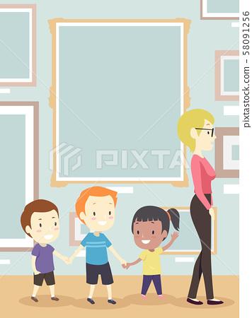Kids Teacher Gallery Frame Illustration 58091256