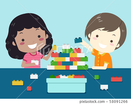 Kids Play Plastic Building Bricks Illustration 58091266