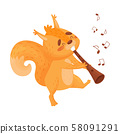 Cartoon Orange Squirrel With Flute. Vector Illustration On White Background. 58091291