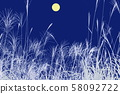 Autumn image_Full moon and Susuki 58092722