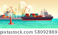Cargo ship loading in port cartoon vector 58092869