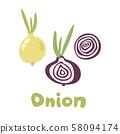 Fresh Vegetable Onion isolated icon. Onion for farm market, vegetarian salad recipe design. Vector 58094174