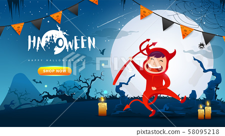 Little Cute Red Devil on Dark night background.Banner of Happy Halloween Day. Creative and Modern design in EPS10 Vector Illustration. 58095218