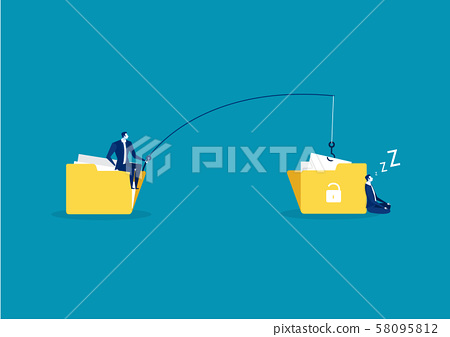 business man steal data ,hacker attack on file vector illustration. Attack hacker to data, phishing and hacking crime 58095812