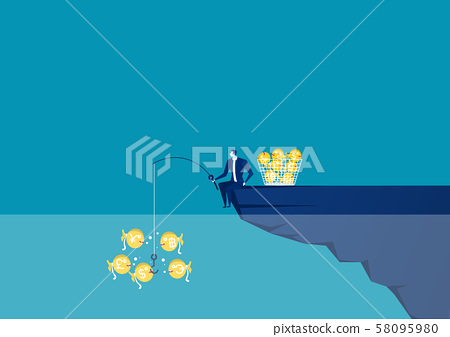 Businessman sitting at the edge of cliff with fishing rod with a dollar Creative vector illustration for business and finance concept. 58095980