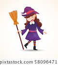 A cute little witch with a broom. Halloween witch kids costume character design vector on isolated background. 58096471