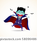 A cute little Dracula. Halloween Demon Dracula kids costume character design vector on isolated background. 58096486