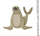 Cheerful little fur seal. Vector isolated animal character on white background 58096500