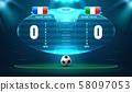 soccer football stadium spotlight and scoreboard 58097053