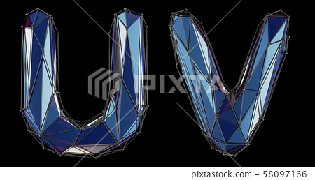 Letter set U, V made of realistic 3d render blue color. Collection of low polly style alphabet 58097166