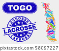Industrial Togo Map and Grunge Lacrosse Seals 58097227