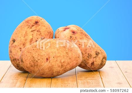 Potatoes close-up 3d rendering 58097262