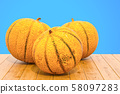 Charentais melon close-up 3d rendering 58097283