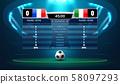 soccer football stadium spotlight and scoreboard 58097293