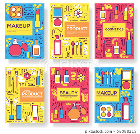 Thin line makeup tools modern illustration 58098215