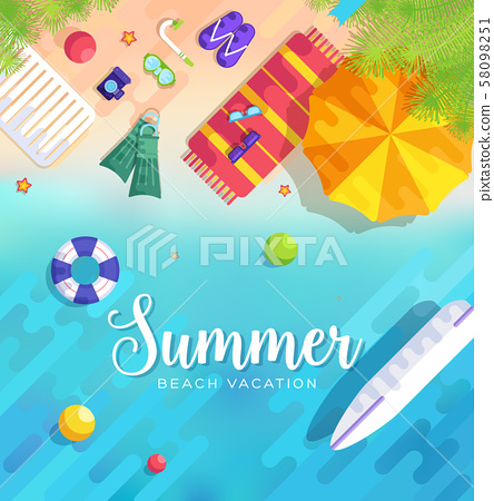 summer vecetion time background vector illustration concept 58098251