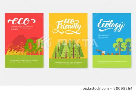 Ecology information cards set. Ecological template of flyear, magazines, posters, book cover 58098264