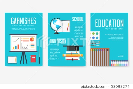 Back to school information cards set. Student template of flyear, magazines, posters, book cover 58098274