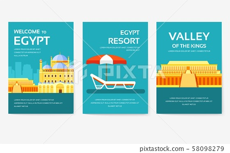 Set of Egypt country ornament travel tour concept. Vacation traditional, magazine, book, poster 58098279