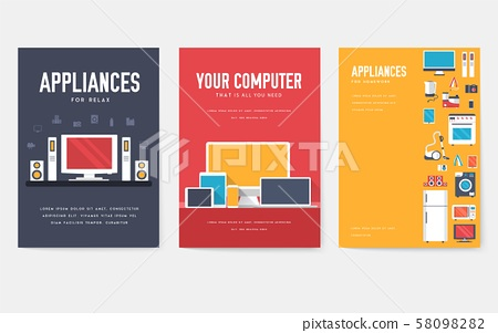 Home appliances cards set. Electronics template of flyear, magazines, posters, book cover, banners 58098282