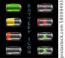 Realistic icon set of battery level indicators 58099493