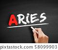 Aries text on blackboard 58099903