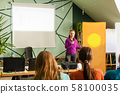 Speaker on informal meeting with students, lecture with projector 58100035