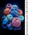 Hobby still life with yarn balls and crafts 58100587