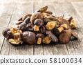 A lot of boletus mushrooms. 58100634