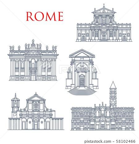 Rome famous buildings, architecture landmarks 58102466