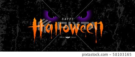 Happy Halloween vector, orange message spooky eye 58103165