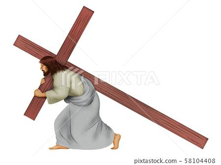 십자가를 짊어 그리스도 58104408