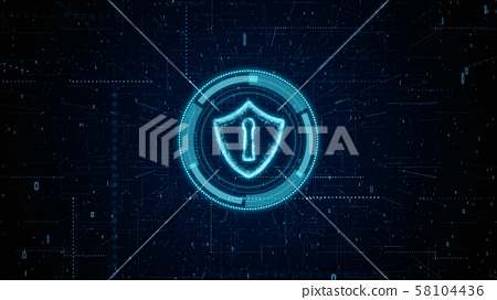HUD and Shield Icon of Cyber Security, Digital 58104436