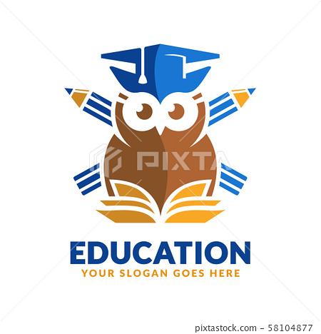 Education logo design template, pencil, book and 58104877