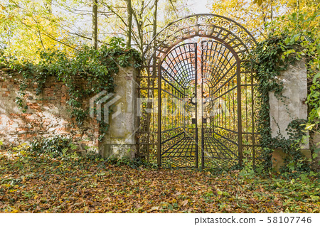 Locked iron gate in the autumn park. Horizontally. 58107746