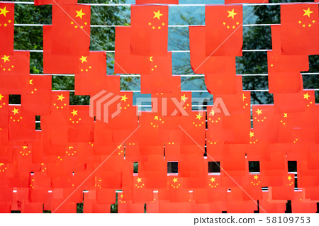 Chinese flags hanging for the chinese national day 58109753